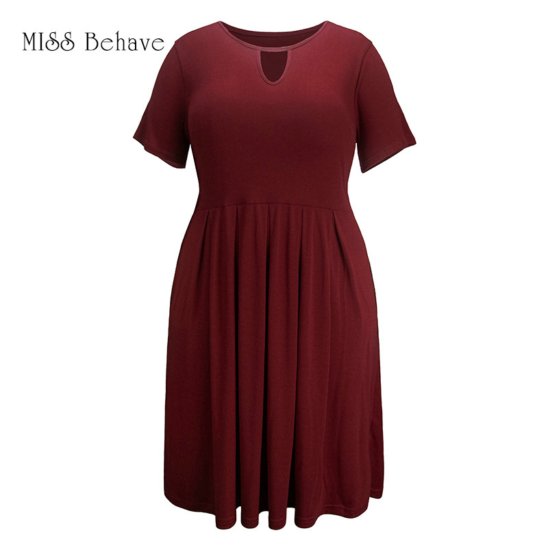 2019 Summer New Style Europe And America Large Size Dress Fat Mm Knit Solid Color Splicing Dress