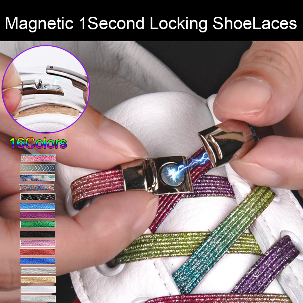 Fashion Magnetic Shoelaces Elastic No Tie Shoe Laces Kids Adult Unisex Glitter Flat Sneakers Shoelace Quick Lazy Laces Strings