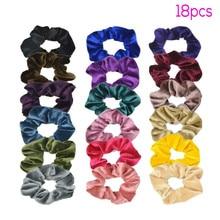 18 Pcs Hair Scrunchies Velvet Soft chiffon satin Elastics Ties Bands Ropes Gifts Stretchy band hair ties