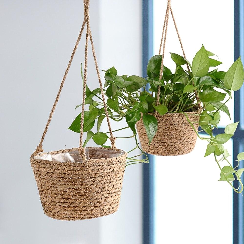 Джутовая веревка, подвесной Плантатор, плетеная корзина для хранения растений, комнатный уличный цветочный горшок, вешалки, Современный до...