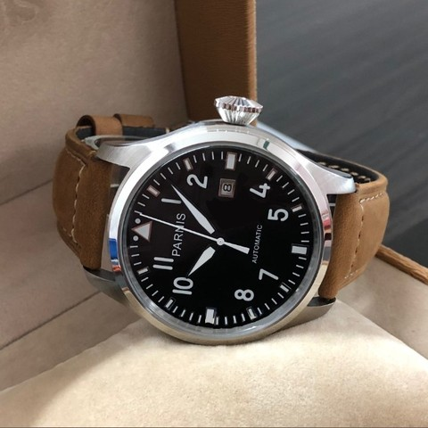 47mm big pilot PARNIS Black dial Automatic Self-Wind movement Auto Date men watches luminous Mechanical watches df128A Lahore