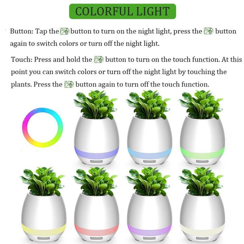 Bluetooth Audio Smart Flower Pot Touch Plant Music Potted LED Lights Plastic Vase Home Decoration Accessories Children's Toys Pakistan