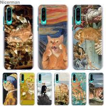 Забавный Pat Cat Art painting красочные милые чехлы для телефонов huawei P30 Pro P10 P20 Lite P30 Lite P Smart Plus Жесткий Чехол для ПК Co