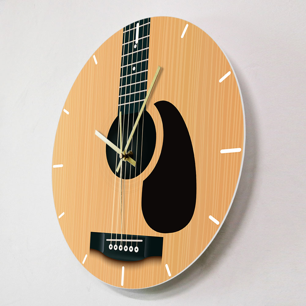 Acoustic Guitar Decorative Wall Clock Music Instrument Minimalist Home Decor Silent Wall Watch Musician Studio Guitarist Gift Just6F