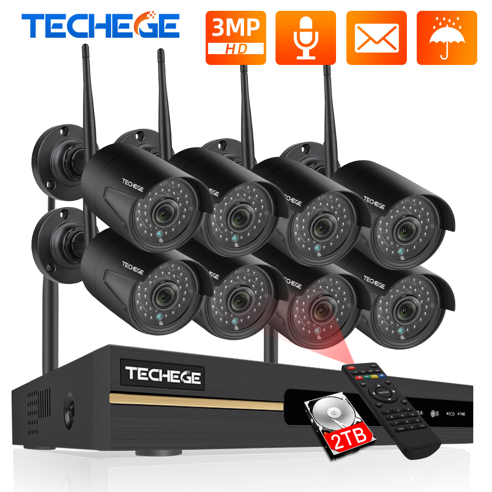 Techege 8CH NVR 3MP CCTV Wireless Security System Kit Audio Record Outdoor P2P Wifi IP Camera Set Video Surveillance Camera Kit