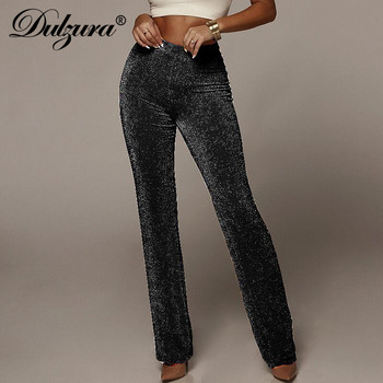 Dulzura women pants solid glitter sparkle bling trousers 2019 autumn winter fashion office lady black wide leg pants 2