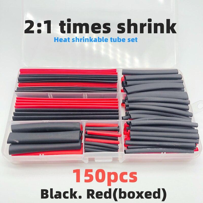 150 heat shrinkable sleeving 2:1 eletrônico preto diy kit isolado poliolefin bainha manga psiquiatra cabos andcable|Luvas de cabo|   -