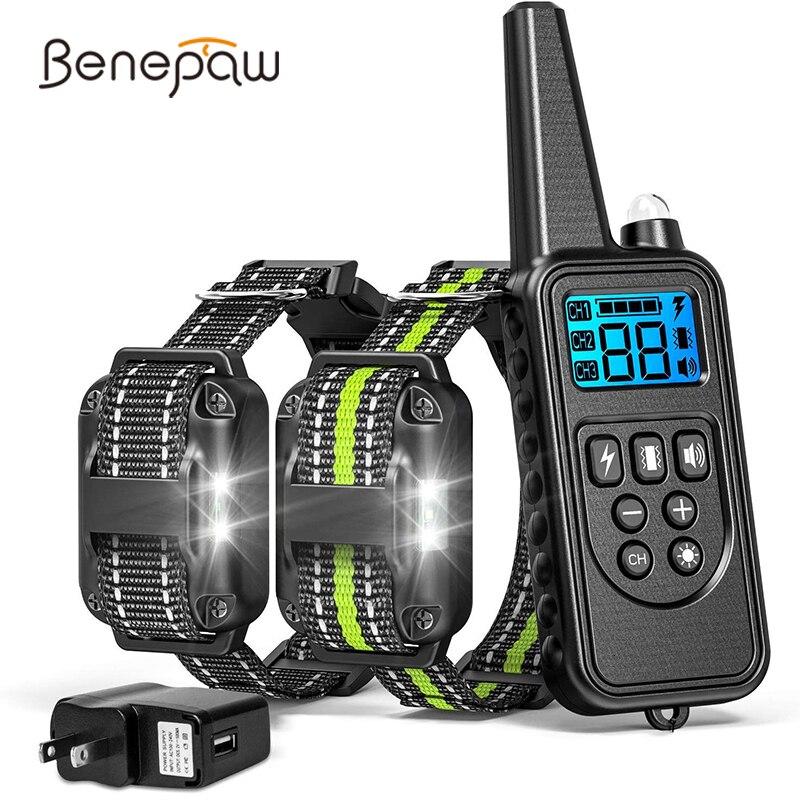 Benepaw Led Light Dog Training Collar Waterproof Safe Pet Puppy Shock Collar Beeper Anti Barking Device 4 Modes 800M Control