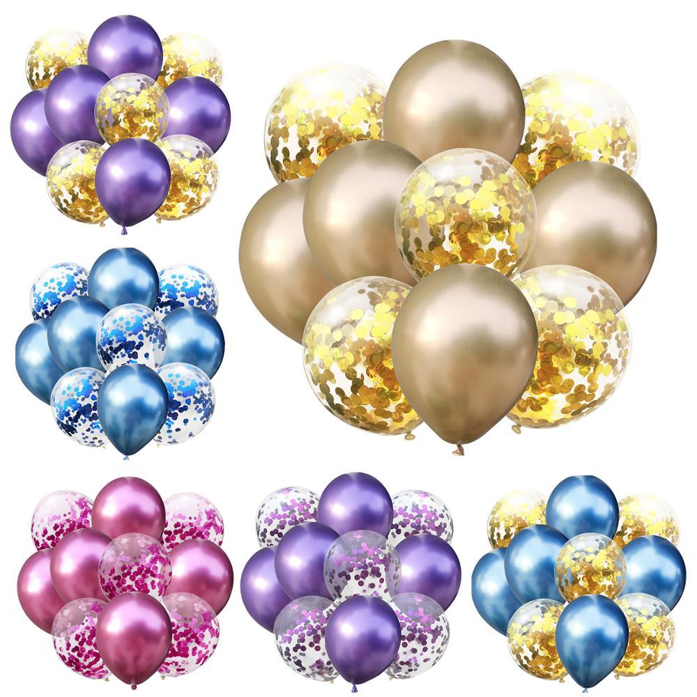 10 шт 12 дюймов металлические цвета латексные шары конфетти надувные воздушные шары шар для дня рождения Свадебные Воздушные шары принадлежн...
