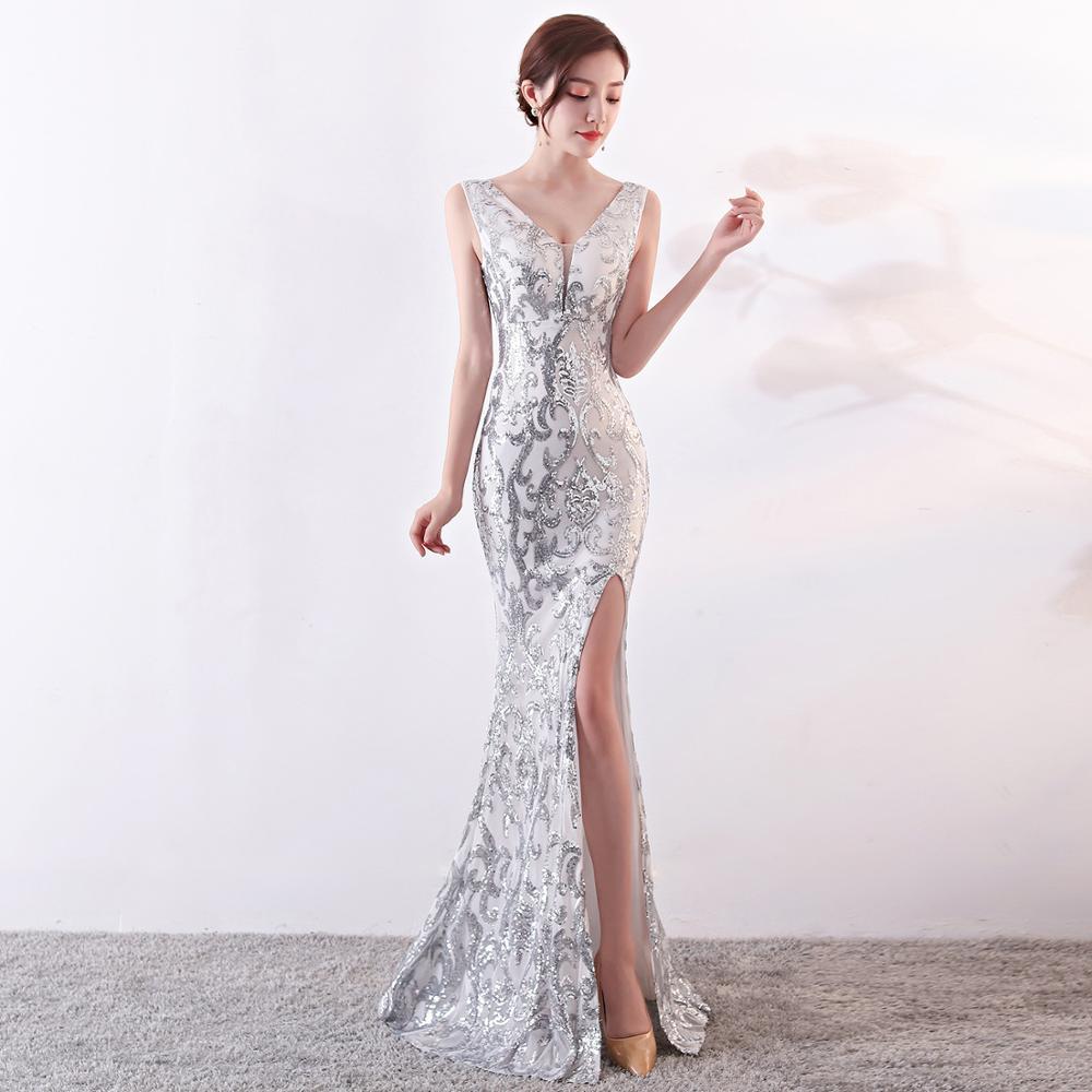 Sexy Long   Evening     Dresses   Sequined Zipper back Mermaid Party Formal   Dresses   Backless Prom   dresses   vestido de noiva