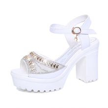 Gladiator Sandals Summer Office High Heels Shoes Woman Buckle Strap Pumps Casual Women Shoes Fashion Crystal Platform Sandals все цены