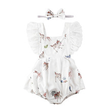 2020 Newborn Toddler Infant Baby Girls Deer Lace Ruffles Rompers Jumpsuit Headband Newborn Baby Girls Easter Christmas Clothes