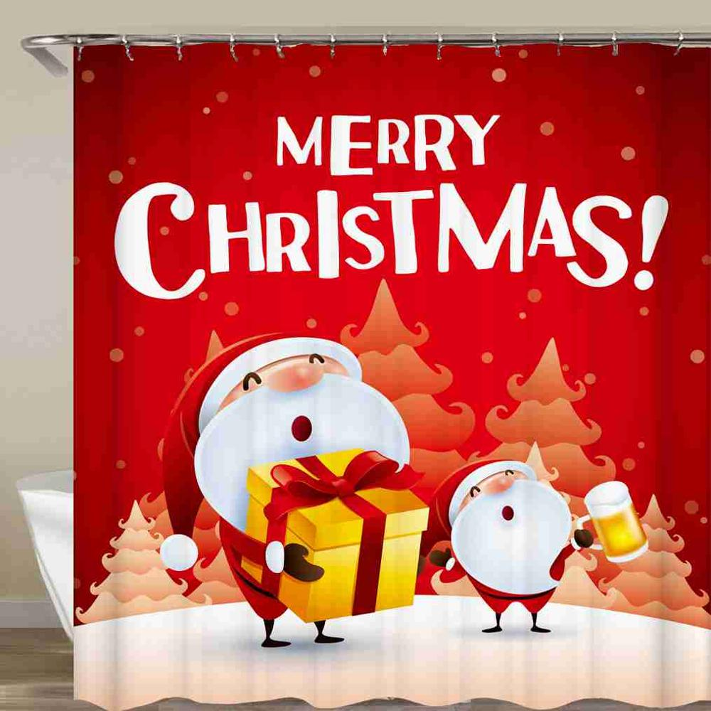 Santa Claus Shower Curtain Gift Merry Christmas Bathroom Curtain Waterproof Fabric With Hook 72x72 Inch