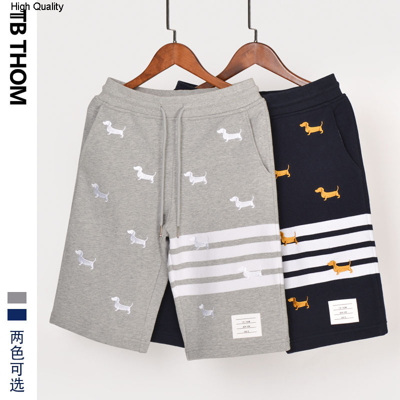 2020 Men's Dog Embroidery Casual Shorts Fashion Dyed Summer Shorts Men Cotton Sport Short Pants Male Gray Blue