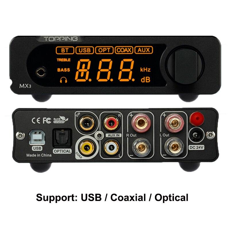 Topping MX3 USB DAC AMP Audio PCM5102A TDA7498E со встроенным bluetooth-приемником, наушники HiFi, цифровой усилитель