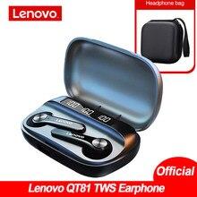 Original lenovo qt81 tws sem fio fone de ouvido bluetooth 5.0 controle toque baixo profundo ipx4 à prova dwaterproof água redução ruído vs lenovo lp2