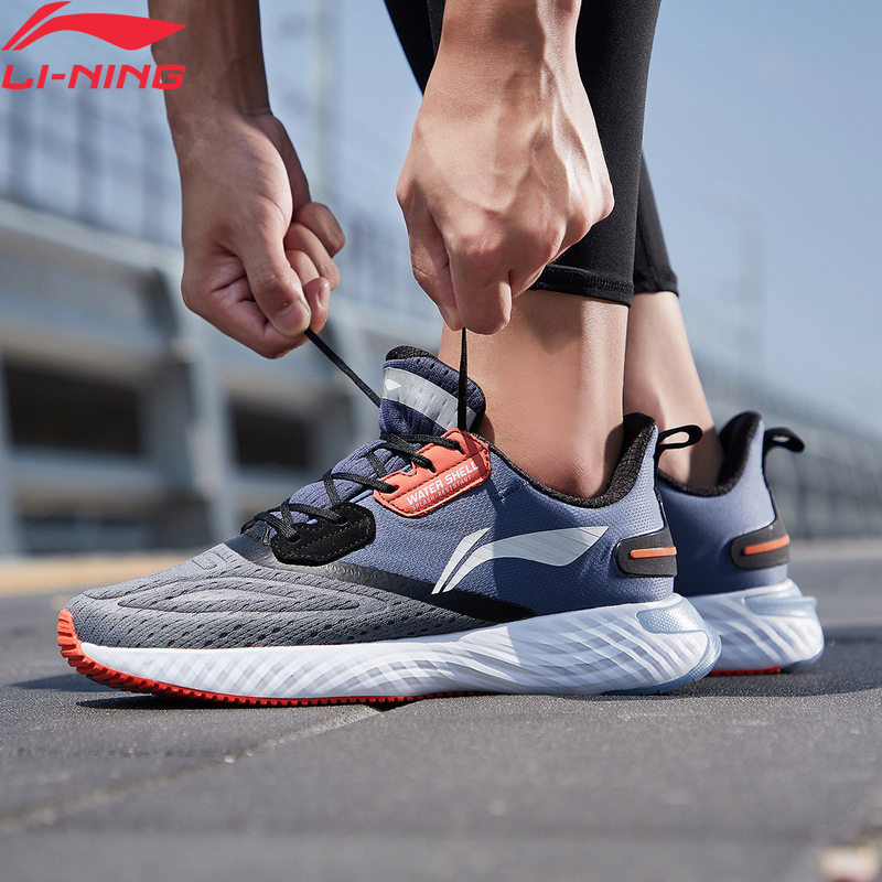 Li-Ning Men LN CLOUD V SHIELD Cushion Running Shoes WATERSHELL LiNing Li Ning Waterproof Sport Shoes Sneakers ARHP143 XYP944