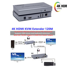 4K HDMI KVM Extender USB Mouse/Keyboard Extension 120M dengan Cat/RJ45/LAN/UTP kabel Jaringan, IR Control TX/RX 3.5MM R/L Audio Output(China)