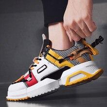 Colorido legal Masculino Tênis Projeto Especial de Espessura de Fundo Sapatos Casuais para Homens Cinta Emenda Plataforma Calçado Amortecimento Sapato Juventude