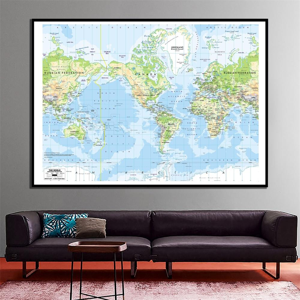 The World Mercator Projection 2001 Edition HD World Canvas Map 60x90cm Home Office Wall Decor Spray Painting