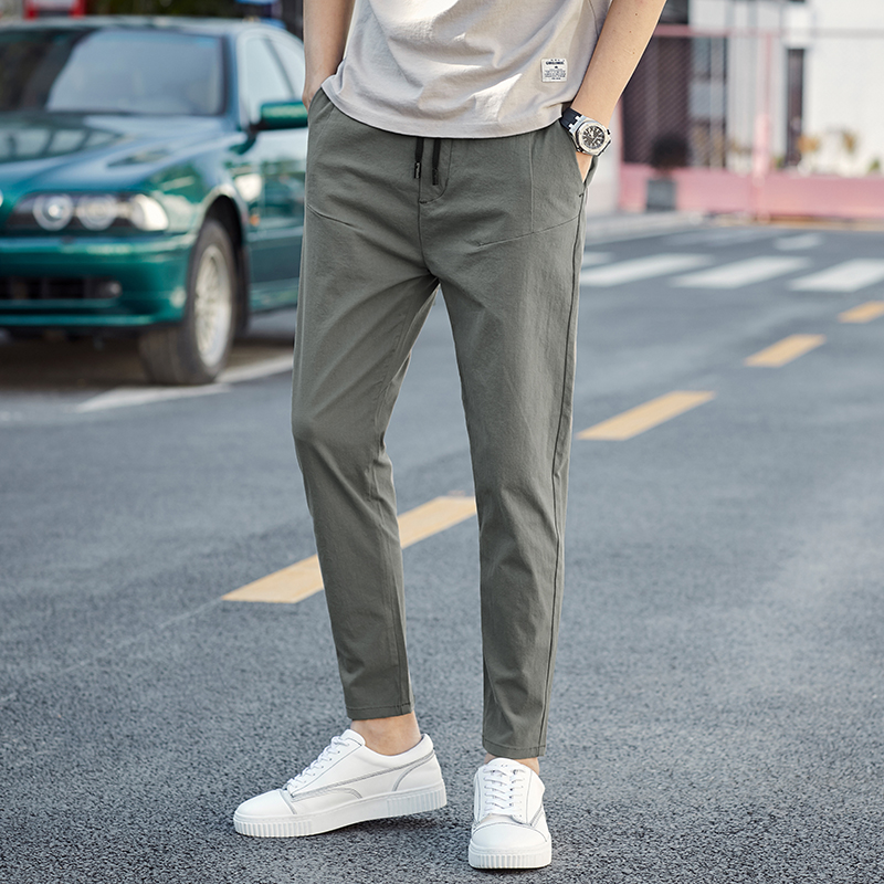 Trousers 2019 summer new men's ankle length casual pants cotton linen elastic waist solid color pants fashion wild simple pants