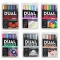 Японские маркеры Tombow  набор кистей для рисования  гладкие акварельные маркеры для рисования  цветные Caligraphy  двойная ручка для рисования  ABT
