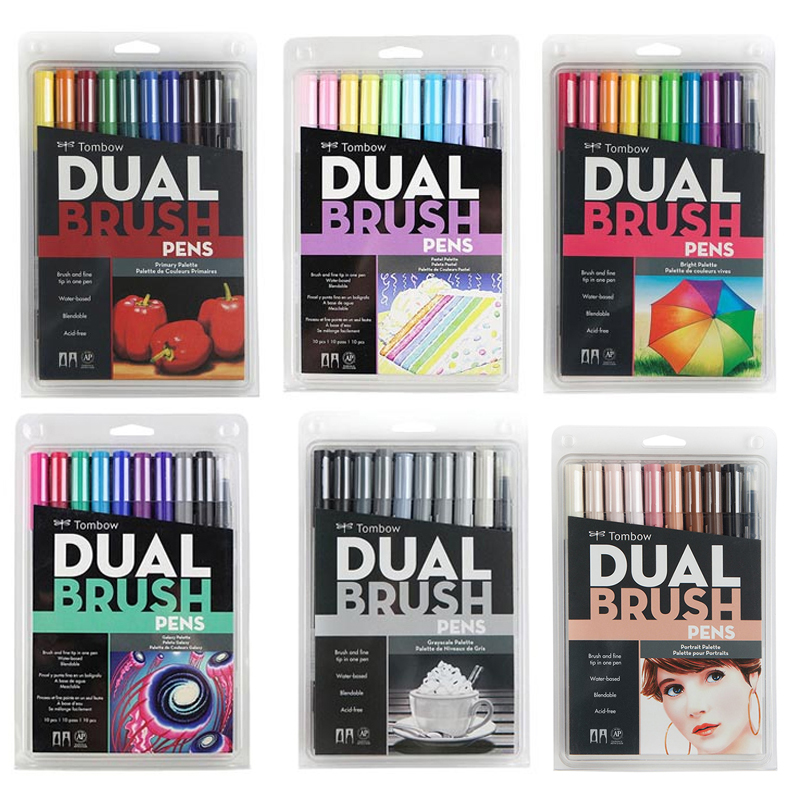Japan Tombow Brush Pen Art Markers Set Smooth Watercolor Drawing Marker Pens Color Caligraphy Lettering Dual Brushpen ABT