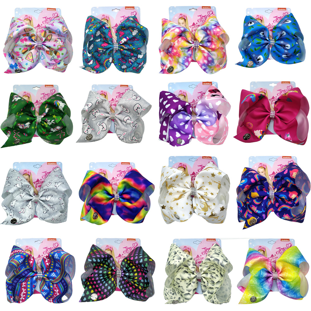 8'' Jojo Siwa Bows Large Hair Bows For Girls With Clips Unicorn Printed Ribbon Bowknot Handmade Party Hairgrips Kids Headwear