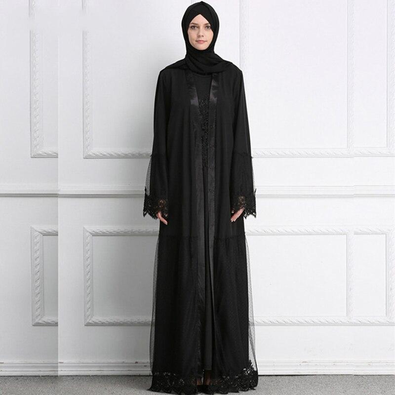 Muslim Abaya Dress Women Islamic Clothing Jilbab Lace Single-breasted Jubah Caftan Long Robe Elbise Dress Turkey Moroccan Kaftan