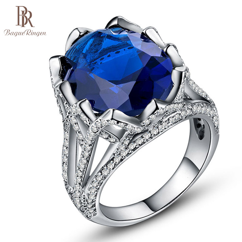 Bague Ringen Luxury Lady Silver 925 Ring With 21mm Sapphire Gemstone Ziron Silver Jewelry For Wedding Engagement Woman Jewelry