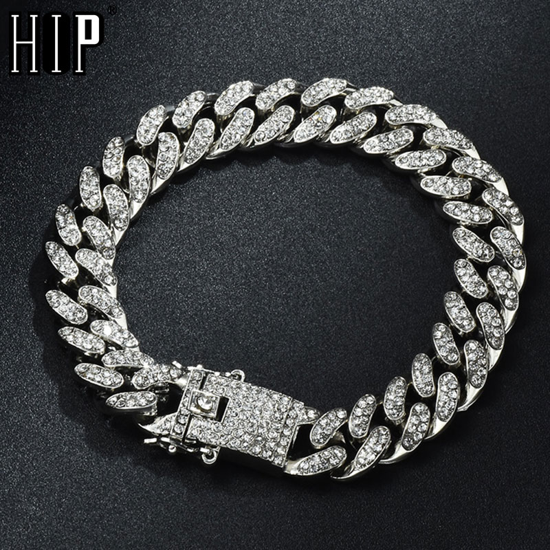 Hip Hop Bling Iced Out Men's Rapper Bracelet Full Rhinestone Pave With Butterfly Miami Cuban Link Chain Bracelet for Men Jewelry
