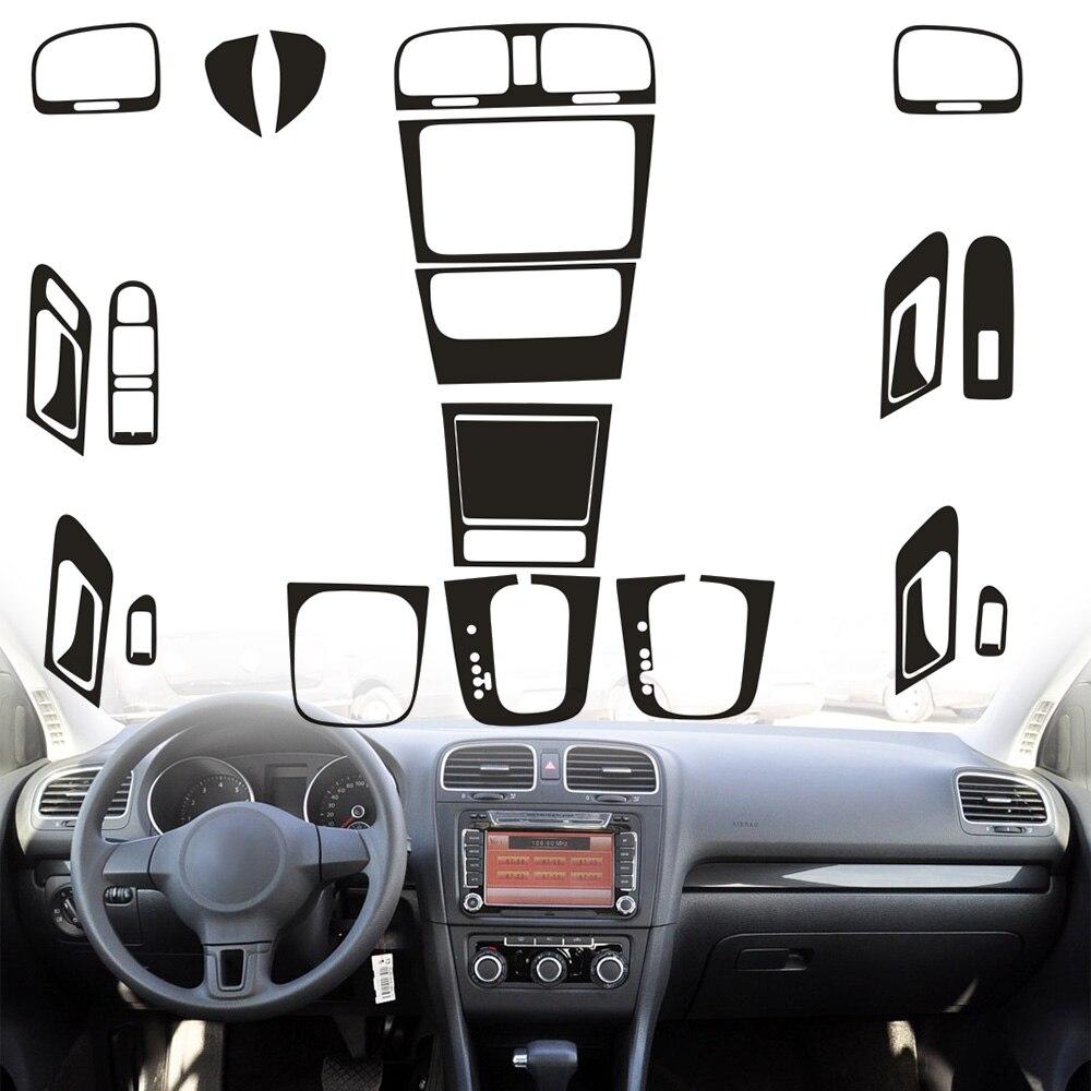 5D Car Carbon Fiber Interior Dashboard Panel Black Sticker Set For Golf GTI MK6 (Left Hand ONLY) 5 Door Interior Trim