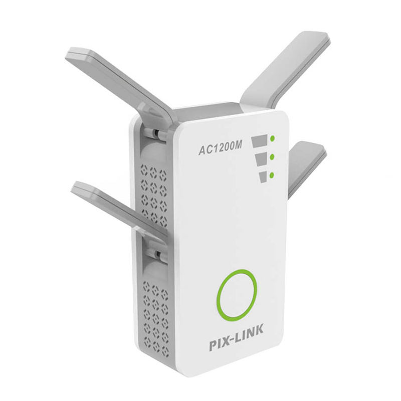 HOT-Wireless Dual Band Ac 1200M 2.4Ghz/5Ghz Mini Router Wifi Range Repeater With 4 External Antennas Eu Plug image