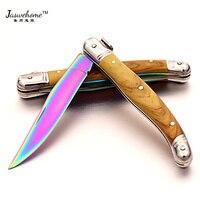 Jaswehome 스테인레스 스틸 접는 나이프 다채로운 티타늄 도금 가정용 과일 포장 칼 다기능 laguiole 칼