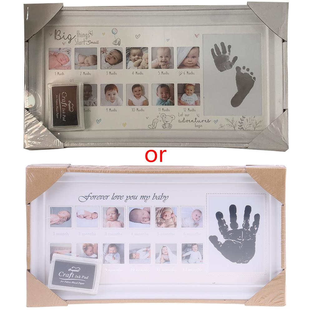 Baby 12 Months Hand Foot Print Commemorative Photo Frame Newborn Growth Record
