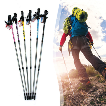 Telescopic Baton Trekking Poles Cork Handle Walking Stick Folding Walking Cane Trekking Poles 135cm Three Sections Retractable outdoor anti fall cane folding blind stick 4 sections folding blind guide cane aluminum walking stick w climbing goods