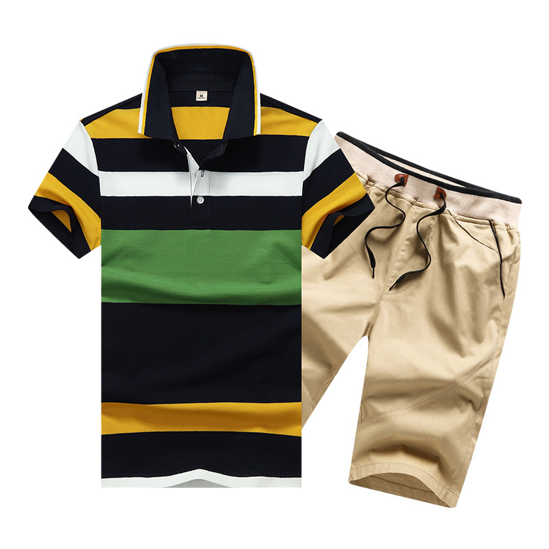 Summer Pure Cotton Sports Set Short Sleeve T-shirt MEN'S Shorts Running Clothing Two-Piece Set Casual Men'S Wear Fashion