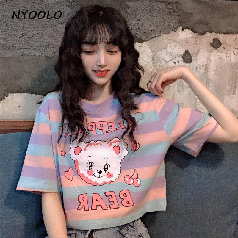 NYOOLO Summer Streetwear Kawaii Bear Letters Print Striped Short Sleeve T-shirt Women Clothing Top Casual Cotton Tee Shirt