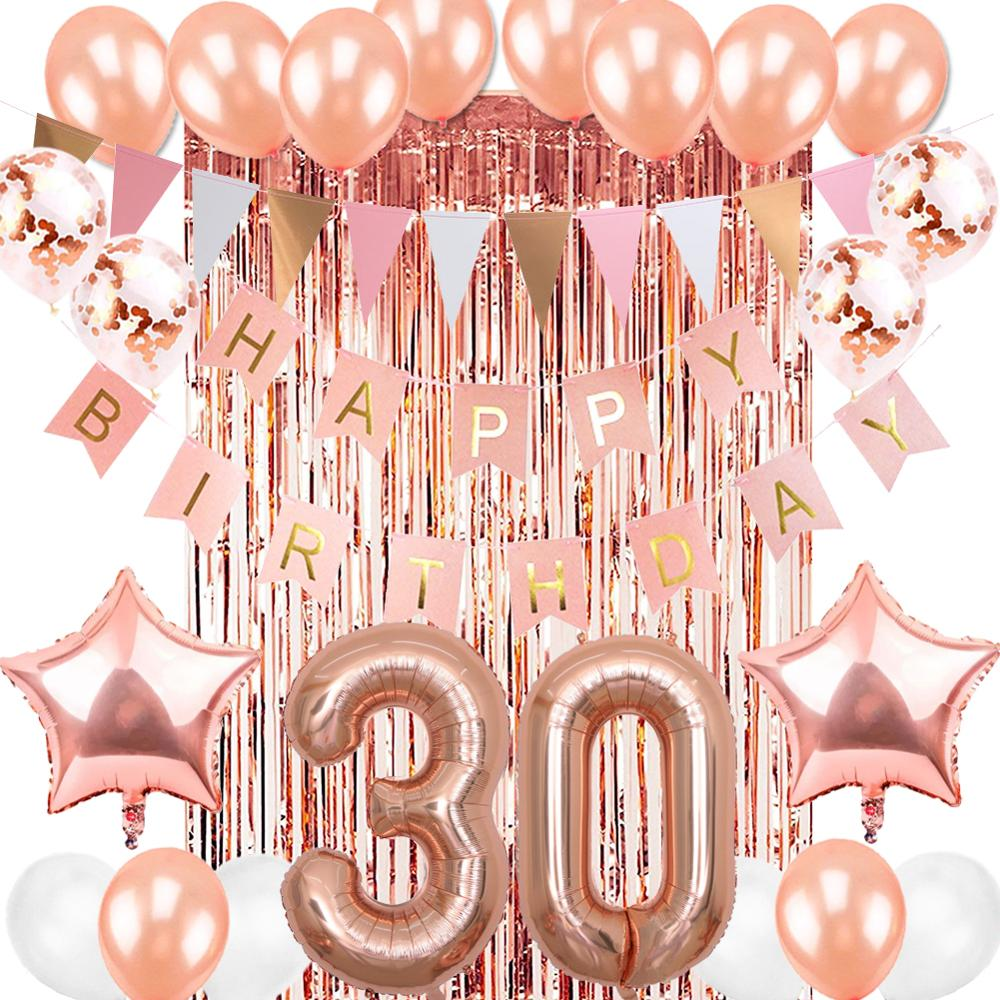 30th Birthday Party Decorations Set Rose Gold Number Foil Helium Balloons Happy Birthday Banner Party Decor Latex Supplies Party Diy Decorations Aliexpress