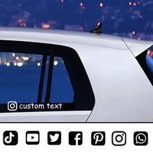 Etiqueta do carro personalizado personalizado instagram facebook e conta social nome de usuário etiqueta para decalques do carro acessórios