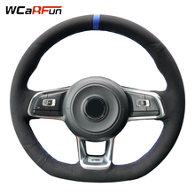 WCaRFun DIY Hand-Stitched Black Suede Car Steering Wheel Cover for Volkswagen Golf 7 GTI Golf R MK7 Polo Scirocco 2015 2016 2017 цена 2017