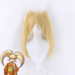 Anime Danganronpa Saionji Hiyoko Blonde Ponytails Wig Cosplay Costume Dangan Ronpa Heat Resistant Synthetic Hair Women Wigs