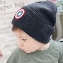 Новинка года; детская зимняя шапка с изображением Капитана Америки для детей; вязаная шапка для мальчиков; бант для девочки; Enfant; Детские шапки супергероев; 50 см