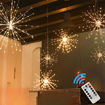 120-200 Leds Festival Hanging Starburst String Lights Christmas Lights Firework Copper Fairy Garland Natal Outdoor Patio Lights 200 leds festival hanging starburst string lights diy firework copper fairy garland christmas lights outdoor twinkle light