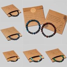 Men Bracelet 8mm Natural Hematite Tiger Eye Bead Classic Pack Healing Stone Bracelets For Couple New Year Gift Pulsera de hombre