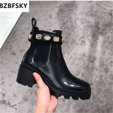 2021Winter Botte Pour Femme New Thick-bottomed Muffin Stretch Cloth Rhinestone Chelsea Shoes Short Boots Ankle Flat Pretty Boot