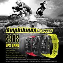 צלילה S908 GPS חכם להקת צמיד שעון IP68 עמיד למים Smartband קצב לב צג גובה מד גובה שחייה ריצה ספורט