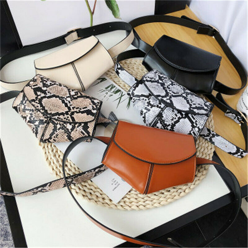 Fashion Waist Fanny Pack Women PU Belt Zipper Waist Bag Girl Snake Skin Print Style Chest Tote Purse