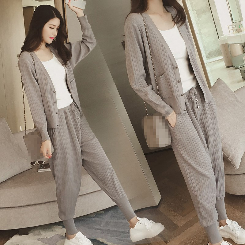 Knitted Casual Tracksuit Pant Suits 2018 Fashion 2 Piece Set Women Sweater And Trousers Set Pants Set 49
