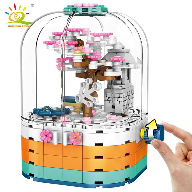 HUIQIBAO 259PCS Sakura Cherry tree Building Blocks set Rotatable box Bricks City Construction Toy For Children Friends gift